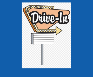a drawing of a drive in movie sign
