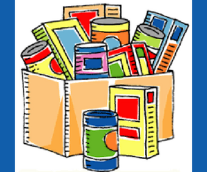 a cartoon drawing of a box of cans and food boxes