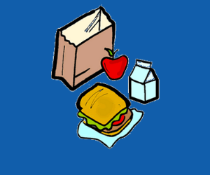cartoon drawing of a paper lunch bag, sandwich and apple