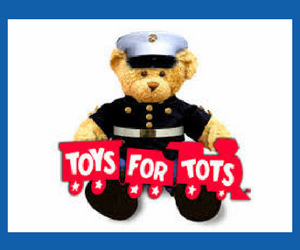The toys for tots teddy bear and logo