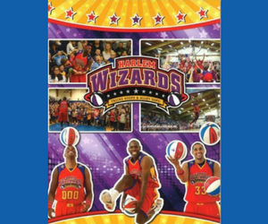 Poster of the Harlem Wizards basketball players with bright and colorful designs surrounding them
