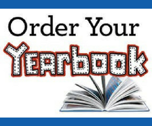 a drawing of an open book and it says, order your yearbook