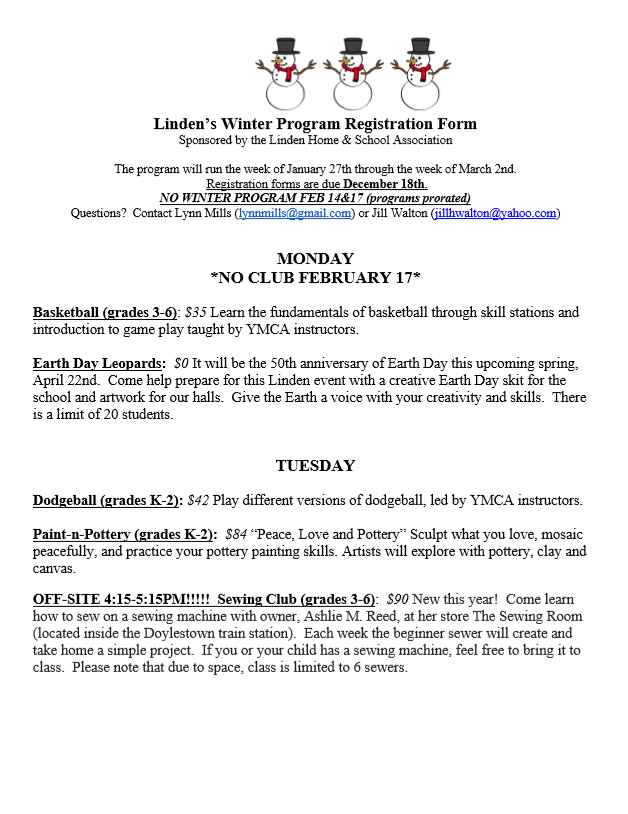 Linden's Winter Program Info