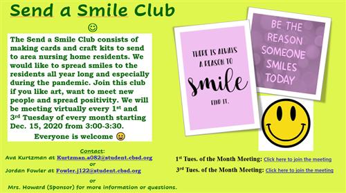 Send a Smile Club Announcement