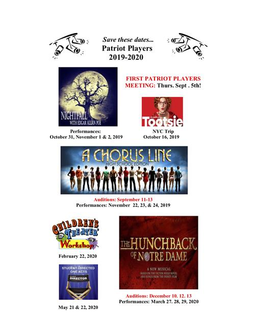 Cbsd February 2020 Calendar Patriot Players / Patriot Players