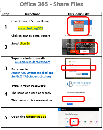 Office 365 - Share Files Directions