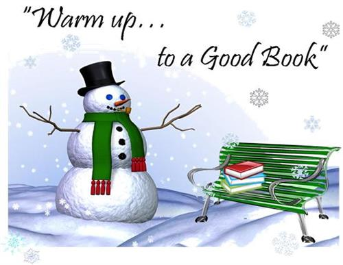 Snowman and books