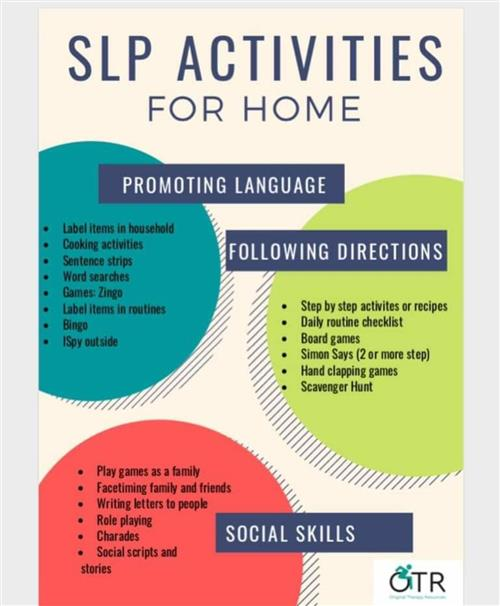 Speech/Lang activities for home