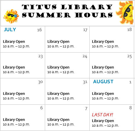 Titus Library open this summer!