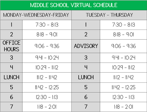 Middle School Virtual Schedule