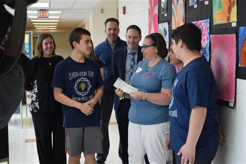 tamanend students present $500 donation to Super T's Mast Cell Foundation