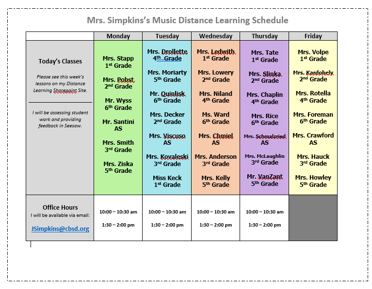 Mrs. Simpkin's Distance Learning Schedule