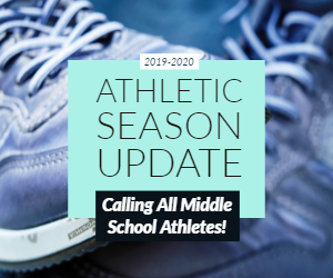 athletic season update with graphic of sneakers in the background
