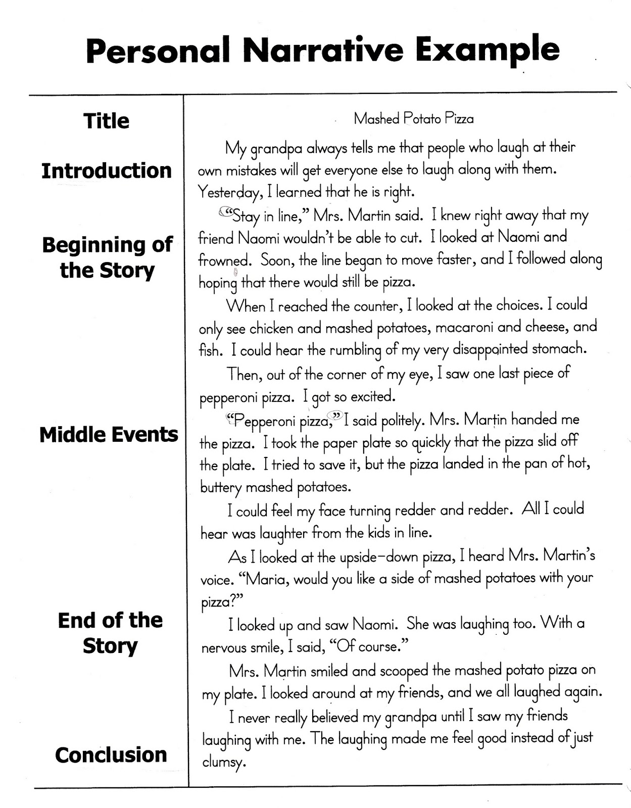 third grade  personal narratives sample personal narrative
