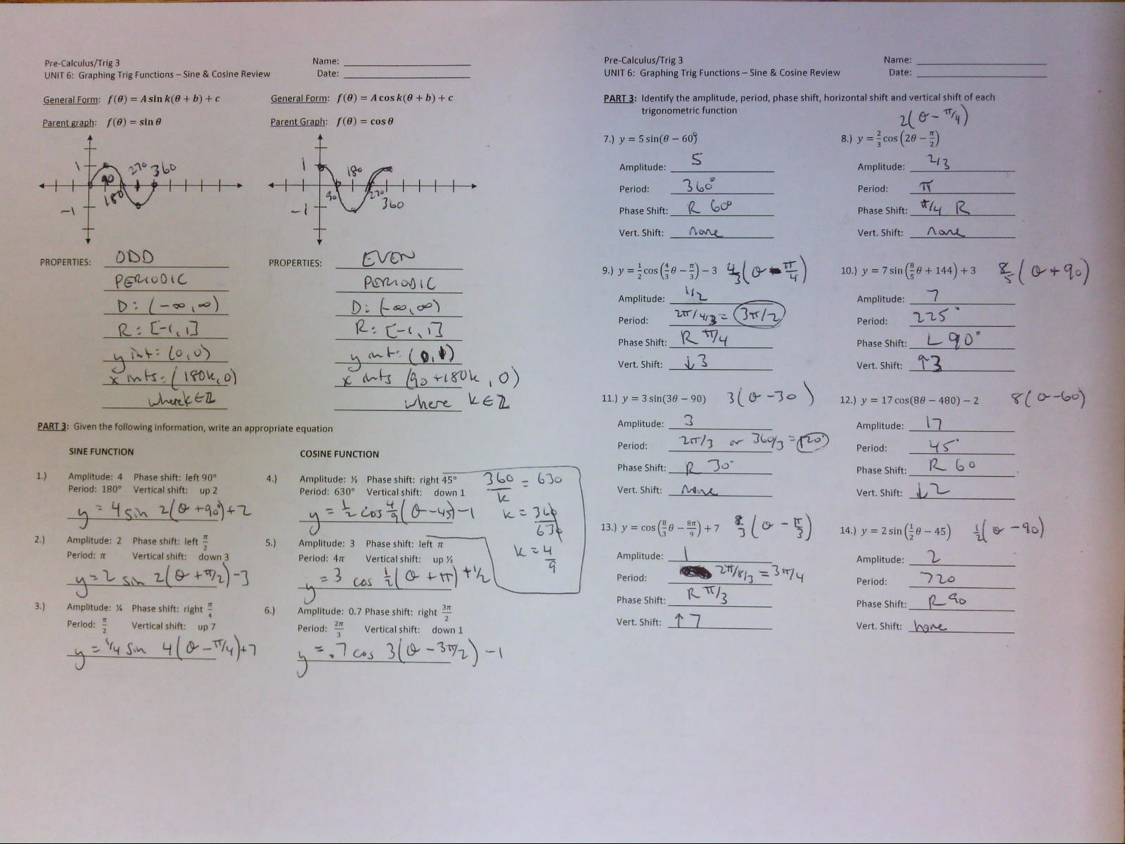 Wetzel Gregory Unit 6 Graphing Trig – Graphing Sine and Cosine Functions Worksheet