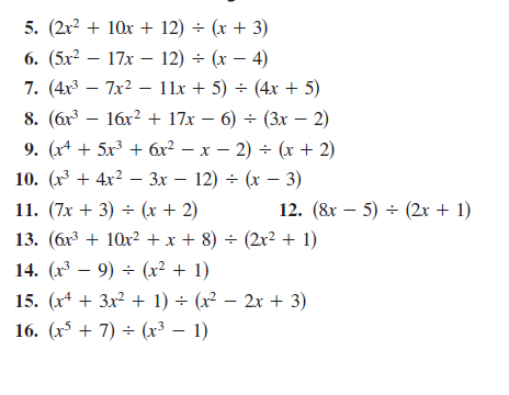 Long division polynomials worksheet with answers